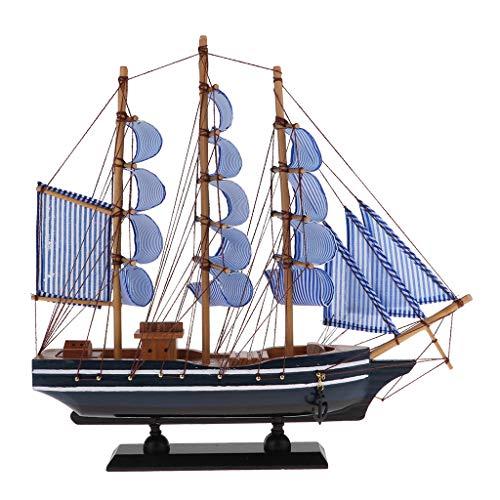 FLAMEER 1 Stück Segelschiffmodell Handwerks-hölzernes Segelboot-Modell-Mittelmeerpiraten-Schiff aus Holz - 330x55x310 mm (Schiffs Modell Aus Holz)