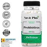 Probióticos - 10 mil millones de UFC. Nueva fórmula potenciada de amplio espectro para mejorar la flora intestinal y el sistema inmunológico. 60 cápsulas vegetales para potenciar tu salud. Ingredientes de máxima calidad y efectividad.