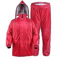 HUIYUAN - Chubasquero impermeable para adultos, doble grueso, impermeable, para equitación al aire libre, color rojo, Tejido Oxford, Large