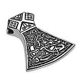 Autiga Edelstahl Anhänger Thors Hammer Mjölnir Vikinger Axt Beil Biker Halskette Lederkette Kugelkette Damen Herren Silber-nur-anhänger