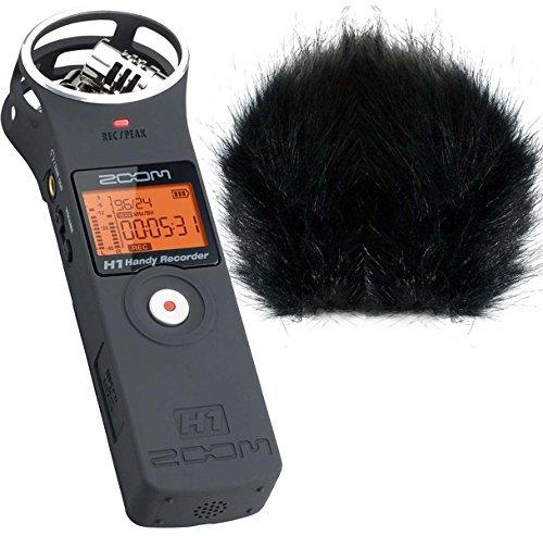 zoom-h1-mb-matte-black-v20-grabadora-estereo-de-mp3-wav-ws-keepdrum-de-bk-piel-protector-de-viento