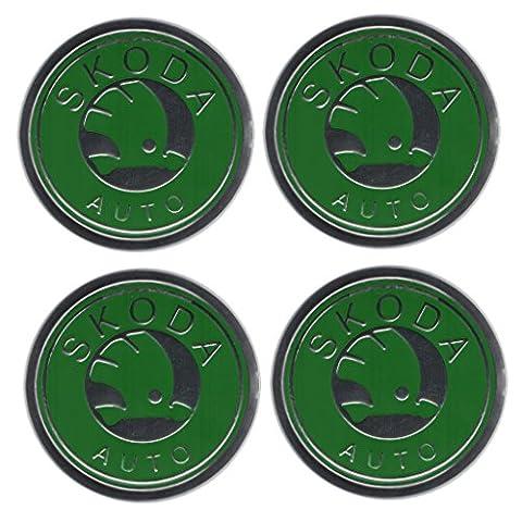 Aufkleber-Set mit Skoda-Emblem, für Felgendeckel, Radstern, Legierungen, Raddeckel, Radzierblenden, 4
