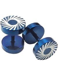 KONOV Schmuck Herren-Ohrringe, 8mm Kreis Schrauben Ohrstecker, Edelstahl, Blau Silber