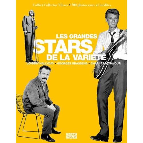 Coffret Les grandes stars de la variété en 3 volumes : Charles Aznavour l'éternel bohême ; Brassens une mauvaise réputation ; Johnny Hallyday une vie pour le rock