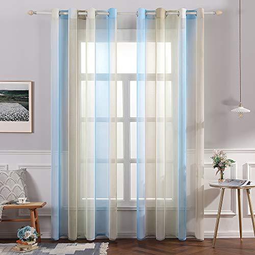 MIULEE Cortina Translúcida Visillo Gradiente Color
