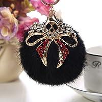 ZPL Pelliccia di coniglio moda diamante sfera farfalla con ciondolo catena chiave dorata , black - Diamante Del Nastro Scorrevole