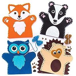 Baker Ross Kit per realizzare marionette da mano a forma di animali del bosco (confezione da 4) per creazioni fai da te…