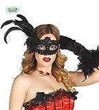 Guirca Fiestas GUI12712 - Schwarze Maske mit Feder