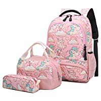 School Backpack Teen Girls Women Cute Unicorn School Bag Set with Lunch Bag and Pencil Case Water Resistant Bookbag for Student Lightweight Rucksack Fashion Travel Casual Daypack