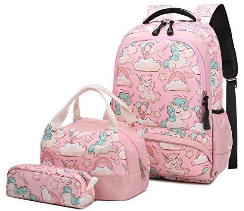 Schultasche 3 Teile Set für Mädchen Niedlich Einhorn Druck Freizeitrucksack Frauen Reise Daypacks Girls Backpack,Rucksack Schule + Lunchpaket Tasche + Mäppchen(Rosa) (Set Kids Mäppchen)