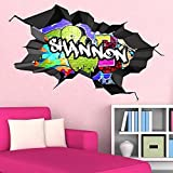 Multi Full Farbe personalisierbar 3D Graffiti Namen gebrochenen Art Wand Aufkleber Aufkleber Wandbild, Medium: 90cm(W) x 56cm (H)