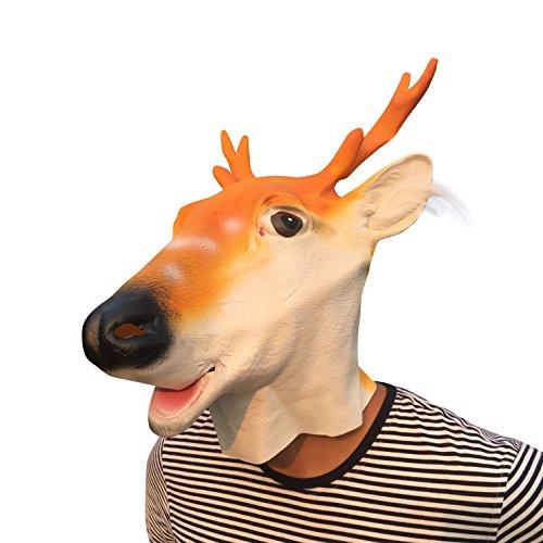 (thematys Reindeer Hirsch REH Elch mit Haaren Maske - perfekt für Fasching, Karneval & Halloween - Kostüm für Erwachsene - Latex, Unisex Einheitsgröße)
