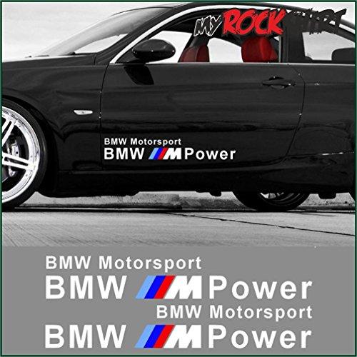 2 x BMW MOTORSPORT MPOWER Seitenaufkleber 60 x 10 cm Aufkleber ,+ Bonus  Testaufkleber