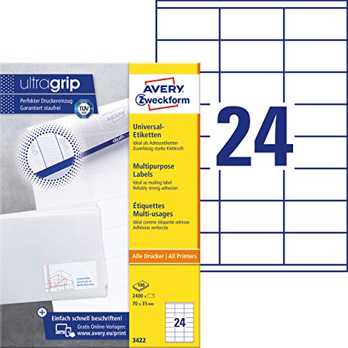 Avery Zweckform 3422 Adressaufkleber (A4 mit ultragrip, 70 x 35 mm, 100 Blatt, Papier matt, bedruckbar, selbstklebende Adressetiketten 2,400 Klebeetiketten) weiß