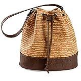 Bucket Bag for Women Non-Leather Vegan Handbag Crossbody Shoulder Woman Cork Brown