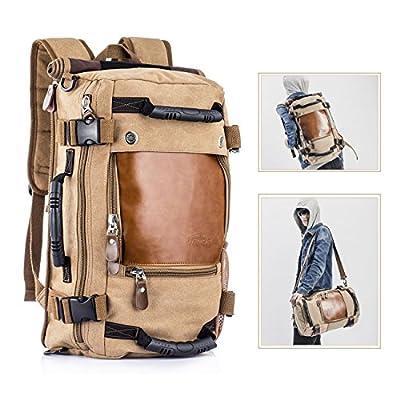 Overmont 35L sac à dos du style vintage multifonctionnel portable sac à main l'ouveryure et fermeture zippée en cuir/toile pour randonnée voyage en plein air