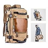 Overmont Vintage Herren Rucksack Multifunktionale Tasche für Reise Camping Wandern Ausflug Outdoor Khaki/Schwarz