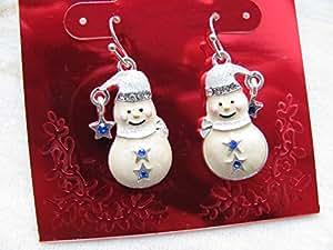 Lizzyoftheflowers–festive smaltato pupazzo di neve orecchini, regalo di Natale Gear