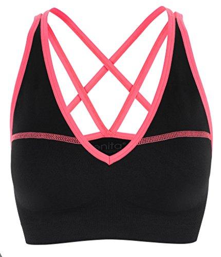 Donna imbottito reggiseno sportivo bordo di Neon - ideale per l'uso quotidiano o per l'esercizio fisico Coral