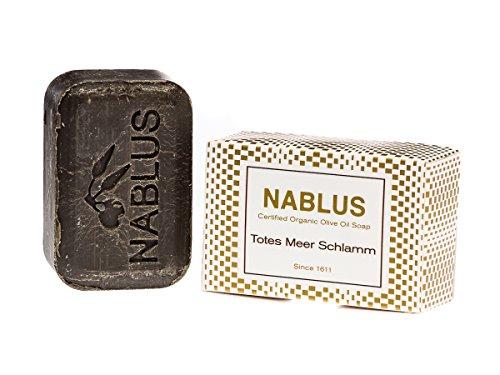 Nablus Soap natürliche Olivenölseife, Sorte: Totes Meer Schlamm, handgemacht und palmölfrei, 100g -