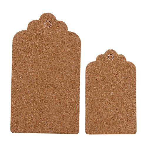 Delaman 100 Stk Geschenkanhänger Kraftpapier Etiketten für Geschenke Anhänger Tags, 5*3cm/7*4cm (Color : Brown, Size : 5*3cm)