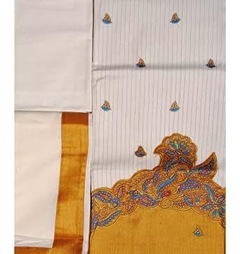 Exotic India Antique-White Kasavu Salwar Kameez Fabric from Kerala with - White