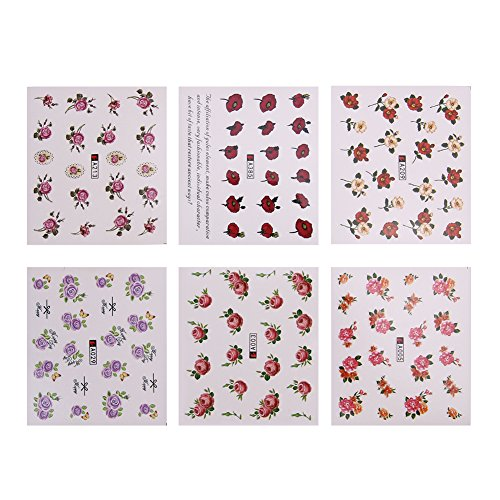 Zibuyu 50Pcs Diy Flower Decoration Temporary Manicure Tips Decal Nail Art Stickers