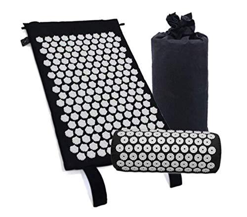 Kit de esterilla de acupresión con almohada, cojín de masaje para yoga, tratamiento alivio del dolor de espalda y cuello, 66 x 42 cm, color negro