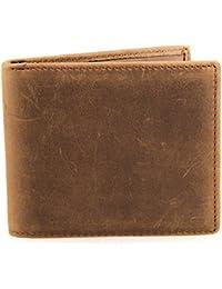 Stepack Marca Natural Vintage cuero genuino de los hombres delgado plegable de la carpeta de
