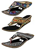 #9: Thari Choice Rajasthani Embroidered Sandal (Pack of 3 pair of sandal)