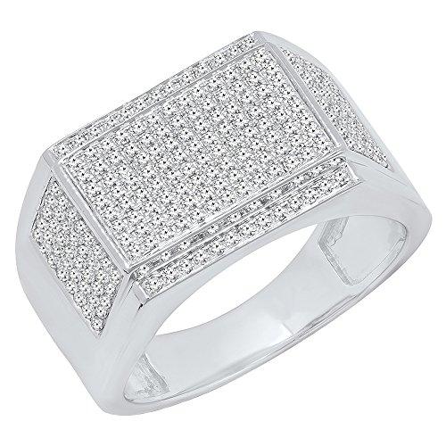 Herren-Ring 10 Karat Weißgold runder weißer Diamant Hip Hop Pink Größe 10 (Pave Diamond Wedding Ring)