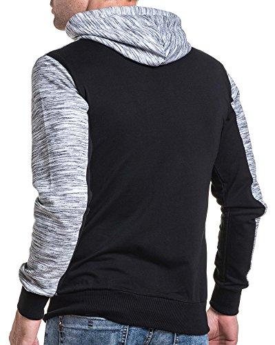 BLZ jeans - Sweat-Kapuzenjacke schwarz und grau melierten Mann Schwarz