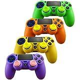 Pandaren Silikon hülle skin für PS4 controller x 4 + thumb grip aufsätze x 8 (grün orange gelb lila)