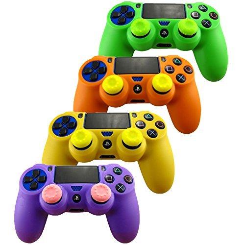 Pandaren® Silikon hülle skin für PS4 controller x 4 + thumb grip aufsätze x 8 (grün orange gelb lila) -