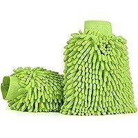 Jen OS 2 Stücke Wasserdicht Mikrofaser Autowaschhandschuh, Weicher Korallen Auto Chenille Waschhandschuh Handschuh mit für Autowäsche (Grün)