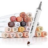 Artist Touchnew Marker-Stifte, mischbare Alkohol-Marker, Hautton Set für Porträt-Illustrations-Zeichnungen, 24 Farben
