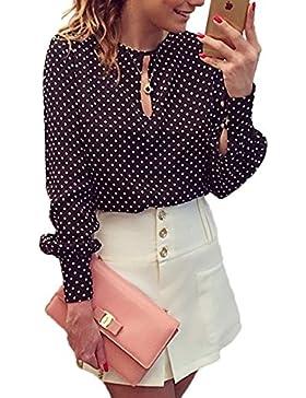 Lunares blusa Casual Chffion camisera de las mujeres