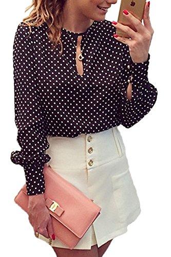 Lunares Blusa Casual Chiffon Camisera de Las Mujeres Señoras Blusa Tops Negro XL