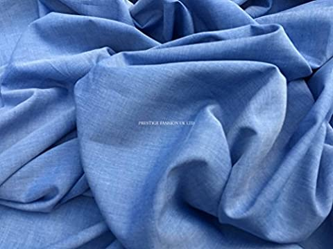 PRESTIGE Blue 100% Cotton Chambre/Chambray Dress Making Wholesale/Manufacturing Supplier Fabric (Per