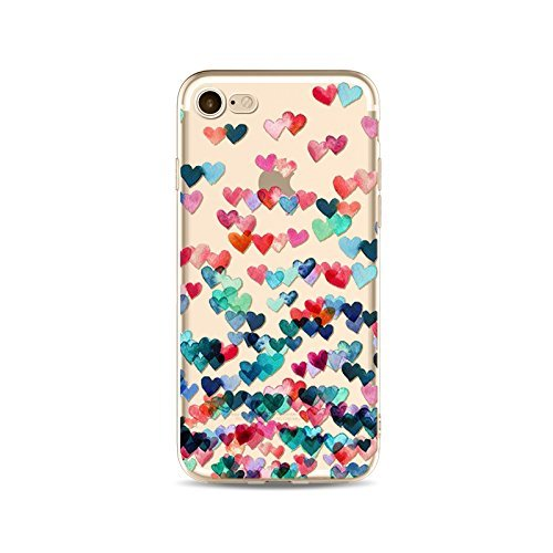 Coque iPhone 7 Housse étui-Case Transparent Liquid Crystal en TPU Silicone Clair,Protection Ultra Mince Premium,Coque Prime pour iPhone 7-Coeur-style 16 2