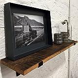 STUFF Loft Wandregal aus recyceltem Altholz 80cmx18cm (BxT) mit Regalhaltern aus Stahl Industie-Loft-Vintage-Design mit FSC Recycled Zertifikat