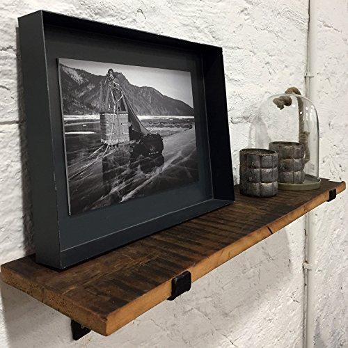 Wandregal aus recyceltem Altholz Massivholz 80cmx18cm (BxT) Regalhaltern aus Stahl Industie-Loft-Vintage-Design mit FSC...