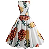 Neun Vintage Kleid,Yesmile Kleid Hepburn 50s Retro Vintage Bubble Skirt Obst Ananas Drucken Rockabilly Swing Kleider Evening Festliches Kleid Petticoat Kleider Damen Rockabilly Cocktailkleid (XL, Weiß)
