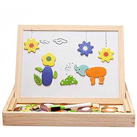 Wooden Animal Toys for Boys Girls Kids Magnetic Puzzle Black White Double Side Sketchpad Drawing Writing Board