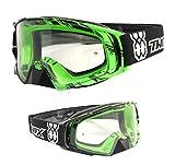 TWO-X Rocket Crossbrille Crush schwarz grün klar MX Brille Motocross Enduro Klarglas Motorradbrille Schutzbrille mit Nasenschutz Anti Scratch Fast Change