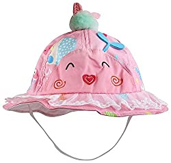 1stbabystore Baby Bowknot Bonnet Round Printed Girls Sun Hat Cap with face pink color
