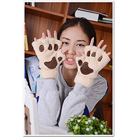 Guanti caldi donne inverno guanti tastiera di gatto artiglio guanti mezze dita