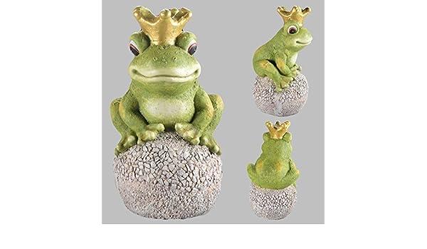 DRULINE Froschk/önig auf Kugel Gartenfigur Garten Figur Gartendeko Deko Frosch Krone Stein Gro/ß