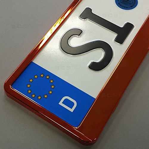 Preisvergleich Produktbild imex 2 Stück Kennzeichenhalter ORANGE Hochglanz metallic Optik Nummernschildhalter
