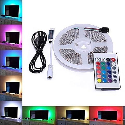 TV Hintergrundbeleuchtung, Skitic USB LED Lichtleisten Lichtband mit 24 Tasten IR Fernbedienung - 200CM 5V Multi-Farben 5050 SMD RGB LED Dekor Streifen Fernsehrückseiten Beleuchtung für Flachen Schirm, Wand-Einfassungs Film Theater, HDTV, PC